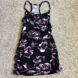 Kismet Tunic Length Side Ruched Floral Tank
